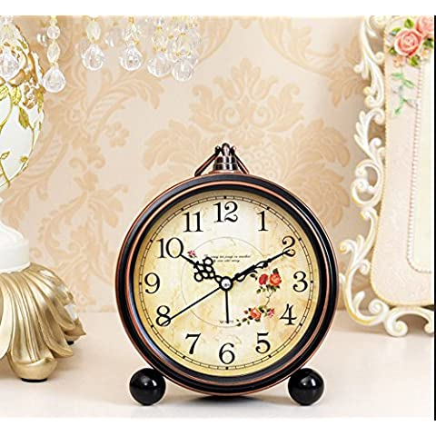 SoftFloat® Classical Retro metal clock with,Bell Alarm Clock with Stereoscopic Dial, Battery Operated Loud Alarm (Noce Ovale Tavolino)
