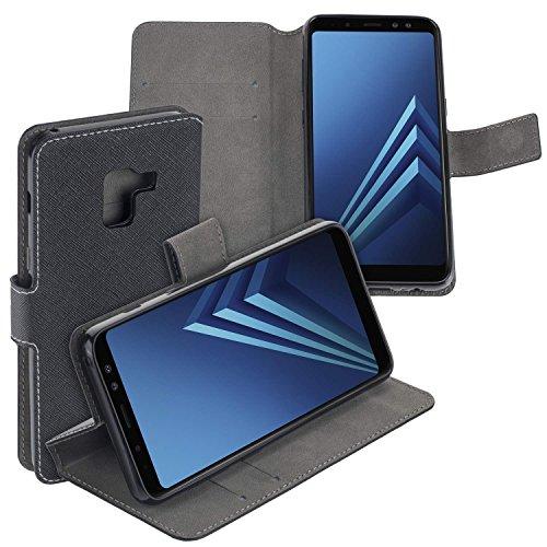 yayago Book Style Tasche Case für Samsung Galaxy A8 2018 / A8 2018 Duos Hülle Klapphülle mit Standfunktion Schwarz