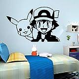 BailongXiao 3D Dessin animé Pokemon bébé Stickers muraux Enfants Chambre de bébé décoration Chambre décoration Papier Peint Sculpture Stickers décalcomanie Murale Affiche 58cm X 88cm...
