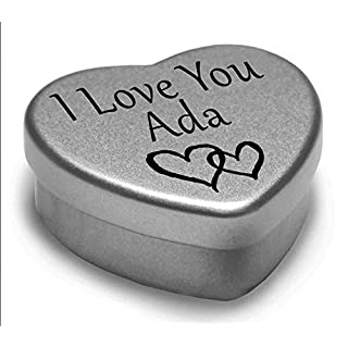 I Love You Ada Mini Heart Tin Gift For I Heart Ada With Chocolates. Silver Heart Tin. Fits Beautifully in the Palm of Your Hand. Great as a Birthday Present or Just as a Special Gift to Show Somebody How Much You Love Them.