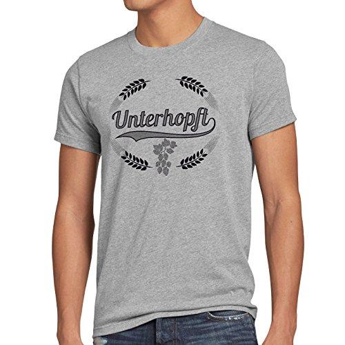 style3 Unterhopft Herren T-Shirt Kult Shirt Funshirt Bier Hopfen, Farbe:Grau meliert, Größe:5XL -
