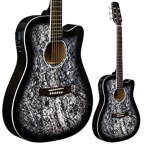 Lindo Skull Elektroakustische Gitarre (mit F-4T Preamp/LCD Digital Tuner/Transporttasche) Black Gloss (Gitarre Gibson Elektroakustische)