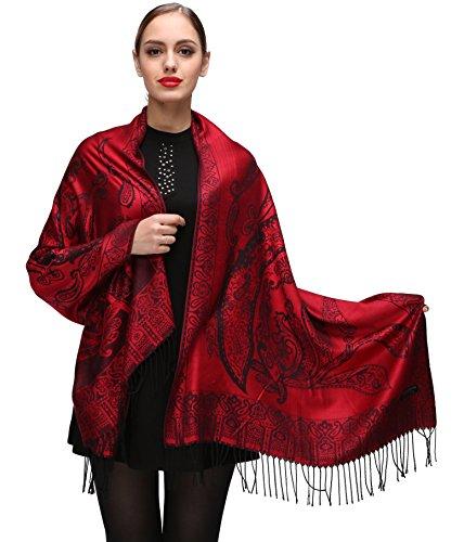 Damen Schultertuch Stola - Eleganter Pashmina Schal mit floralem Muster in vielen Farben (One Size, Rot-c093)