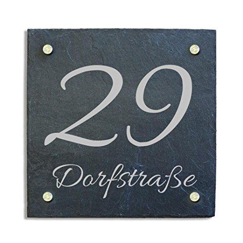 Haustürschild Hausnummer Hausschild aus Schiefer incl. individuellem wetterfestem Druck und Abstandshalter aus Edelstahl 20 x 20 cm