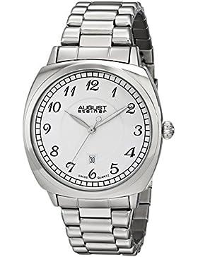 August Steiner Herren silberfarbenes Uhr mit Link Armband