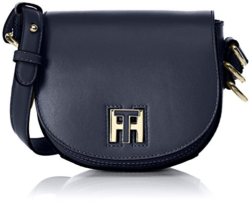 Tommy Hilfiger Th Twist Leather Mini Crossover, Sacs bandoulière femme, Blau (Tommy Navy), 6x15x17 cm (L x H P)
