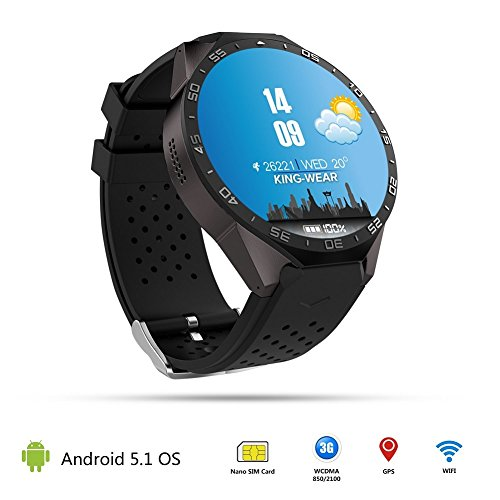 Shenzhen Xinlinuo Technologies Co., Ltd. VSSPEED KW88 Wifi Smartwatch mit Kamera GPS-Bluetooth 3G Smartwatch Herzfrequenzmonitor für Andriod und iPhone Smartphone Watch (Schwarz)