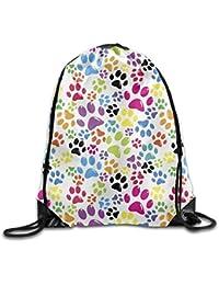guolinadeou Colored Paws Pattern Print Drawstring Backpack Rucksack Shoulder Bags Gym Bag Sport Bag