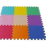 Toyland 9 Piece Colourful Interlocking Tile Foam Playmat - Indoor/Outdoor Fun
