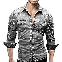 e4580f4ab LMMVP Camisas para Hombres Moda Retro Personalidad Clásico Botón Ajustado  Delgado Negocio Casual Camisetas de Manga