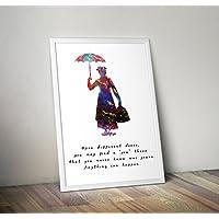regalos impresos de Mary Poppins Inspired Watercolor Poster - Carteles de TV/películas alternativas en varios tamaños (Marco no incluido)