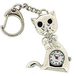 PAR LANE PLKR16 silberfarbener Katzen-Schlüsselanhänger mit analoger Uhr in Geschenkschachtel
