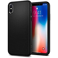 Funda iPhone X, Spigen® [Liquid Air] Flexión Duradero y Diseño de Fácil Agarre [Compatible con Carga Inalámbrica] para iPhone X (2017) [Negro Mate]