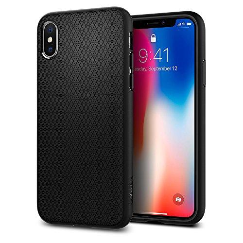 Funda iPhone X, Spigen® [Liquid Air] Flexión Duradero y Diseño de Fácil Agarre para iPhone X (2017) [Negro Mate]