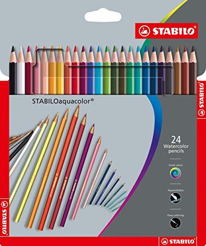 Stabilo aquacolor matita colorata acquarellabile colori assortiti - astuccio da 24