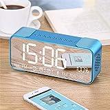 Z&cl Altoparlante Portatile Bluetooth con LED Alarm Clock ad Alta Definizione Colonna Sonora Schermo a Specchio Supporto TF Card AUX FM Radio Bass,Blue