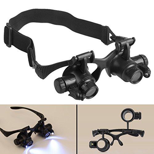Luniquz LED Lupenbrille verstellbare Leselupe mit Kopfband 10 / 15 / 20 / 25 Fach Vergrößerungsglas für Lesen / Identifizierung / Uhrenreparatur / Beobachtung