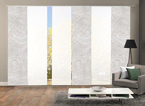 Home Fashion 96533   6er-Set Schiebegardinen Madera   blickdichter Dekostoff & Transparenter Halborganza   Farbe: Natur   6X jeweils 245x60 cm