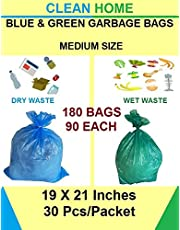 Clean Home - 6 Packs Medium Size 19 X 21 Disposable Garbage Bags for Dry and Wet Waste (90 Pcs Blue and 90 pcs Green) -3 Packs Each Total 180 Bags