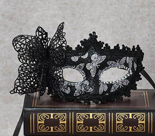 Veewon Elegante Frauen Venezianische Gesichtsmaske Gemalte Schmetterlingsdekoration Damen Mädchen Maskerade Masken für Halloween, Maskerade, Kostüm Party (Schwarz) (Maskerade Kostüm Mädchen)