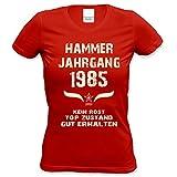Damen Frauen Shirt 33. Geburtstag Geburtstagsgeschenk Hammer Jahrgang 1985 Freundin,Tante,Tochter,Schwester,Mama Farbe: Rot Gr: M