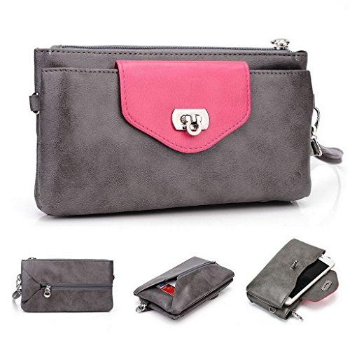 Kroo Damen Geldbörse Leder Clutch Wristlet Ledertasche für Panasonic P61 grau Grey and Magenta (Leder Geldbörse Magenta)
