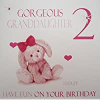WHITE COTTON CARDS Gorgeous Granddaughter 2, Handmade Age 2 Birthday Card (Pink, Bunny)