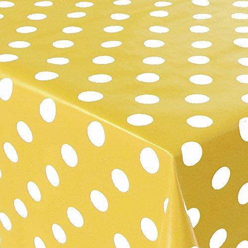 Mambo-Design Gartentischdecke Wachstuch Punkte Gelb Weiss Eckig ca.130x200 cm - Eckig Rund Oval - Form & Größe wählbbar (Moderner Runder Schnitt)