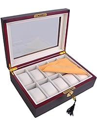 ReaseJoy 10 Slot Wooden Watch Display Box Case Glass Top Jewelry Storage Organizer Ebony Wood