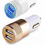 Universal High Qulity 3.1 A ( 2.1 A + 1.0 A ) Output Dual USB 2 Port Metal Fast USB Car Charger For All Android Iphone & Basic Mobile