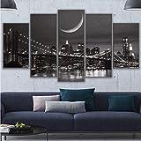 Zxdcd Pinturas Sobre Lienzo Arte De La Pared Modular Decoración Para El Hogar 5 Piezas Paisaje Lunar De Nueva York Imágenes Hd Impresiones Puente De Brooklyn Póster -40X60Cmx2 40X80Cmx2 40X100Cm