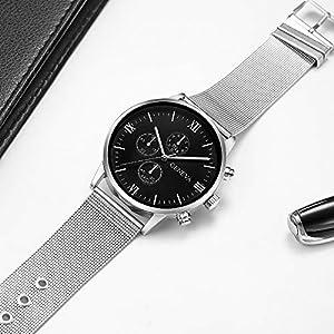 JiaMeng Orologio da polso, Moda elegante orologio classico Ginevra Mens Watch Retro in acciaio inossidabile analogica in lega da polso al quarzo Cintura a 628 maglie (M)