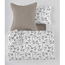 ES-TELA - Juego de funda nórdica estampada PAOLA (6 piezas) - Color gris - Cama de 180 cm. Incluye funda(s) de cojín - 50% Algodón/50% Poliéster - 144 Hilos