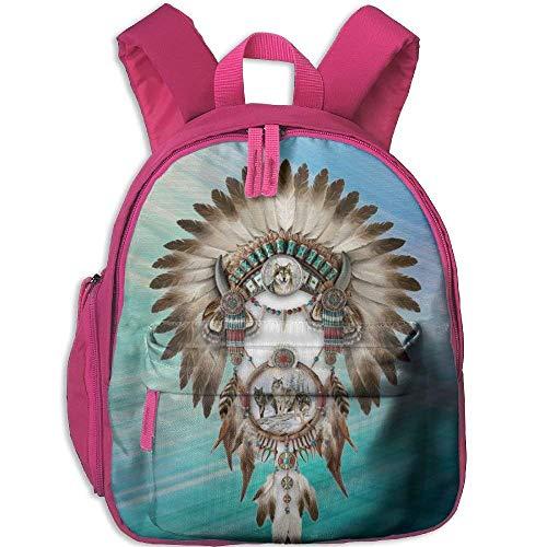 Kindergarten Boys Girls Backpack Feather Forest Wolf School Bag