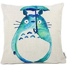 Lino y Algodón Blend Decorativo Funda de Cojínes 45x45 cm [18x18'' pulgadas] Totoro Verde
