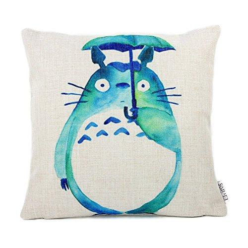 Elviros Dekorativ Baumwoll Leinen Mix Kissenbezug 45 x 45cm-Totoro grün