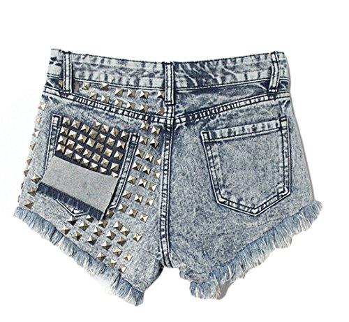 Damen Sommer Mode Skinny Hohe Taille Mit Niet Zerrissenes Loch Kurz Jeans Hosen Troddel Denim Shorts Hot Pants Kurzschlüsse Hüftjeans Blau-Schwarz