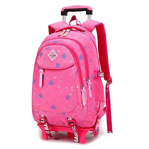 LRLANI Herren und Damen Universal Rollrucksack Junior High School Trolley Bag Abnehmbarer niedlicher Rucksack geeignet für Outdoor Kabinenreisen rosa Rose Größe (Rädern High Rucksack Sierra Mit)