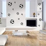 malango Wandtattoo Fussbälle Fussball Fan Wanddekoration Bälle Wanddesign Wandaufkleber Freizeit Sport Hobby Tattoo Dekoration Design 1 Set á 15 Stück schwarz