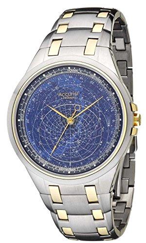 Accurist Celestial reloj hombres de cuarzo pulsera reloj con esfera azul y correa de acero inoxidable de dos tonos GMT117USA