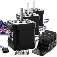 3 Pack Nema 17 Motor paso a paso, Quimat Stepper Motor 1.7A 0.59Nm (84oz.in) 47mm con 1m 4-Pin Cable + Conector + 3 Soporte para Impresora 3D / CNC QD03