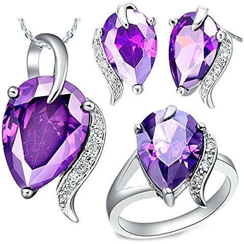 AnaZoz Joyería de Moda Juegos de Joyas de Mujer Cristal Austriaco Chapado en Plata Forma Gota de Agua Púrpura Collar y Pendientes y Anillo Juegos de Joyas Tres Piezas Color Púrpura