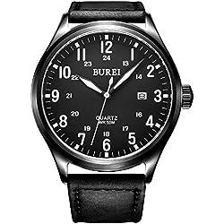 BUREI® Men's Luminous Date Waterproof Quartz Watch with Black Genuine Leather Strap, Black Dial