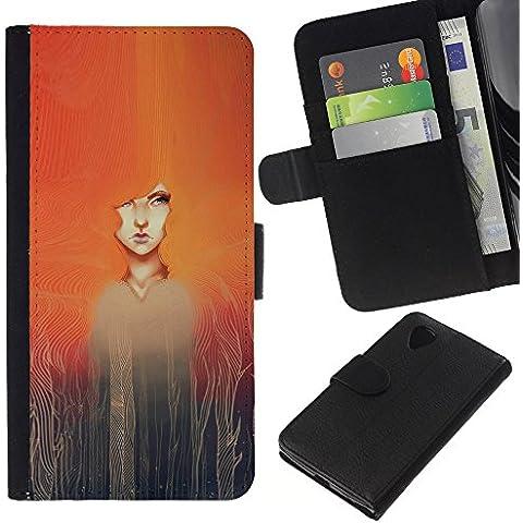 A-type (Watercolor Painting Girl Redhead) Colorida Impresión Funda Cuero Monedero Caja Bolsa Cubierta Caja Piel Card Slots Para LG Nexus 5 D820