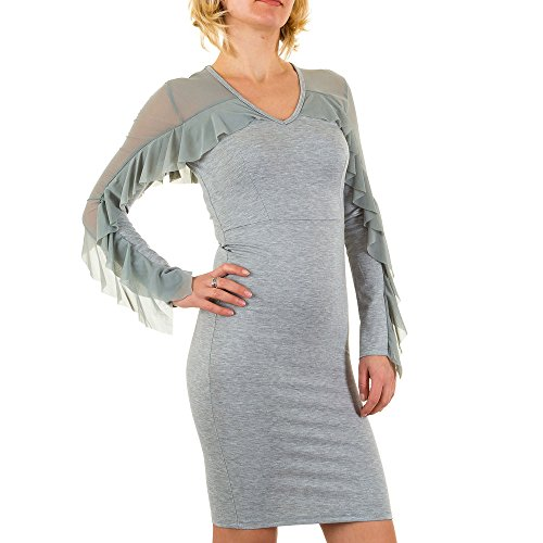 Volant Kleid Für Damen bei Ital-Design Grau