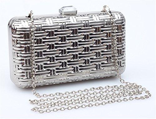 Good Night guscio in metallo modello tessuto Il sacchetto di sera Bag Custodia rigida frizione Argento