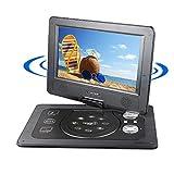 DVD Player Auto Tragbarer, Reise Auto Rücksitz DVD Player with Game Controller and CD, schwenkbaren Bildschirm, unterstützt SD-Karte und USB, 1024*600 Pixels, mit Auto-Ladegerät-Schwarz (10.1 INCH)