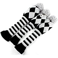 Golf Pom Pom Fundas Para cabezas de madera, Set de 3, para conductor y Fairway Wood, Gray & White