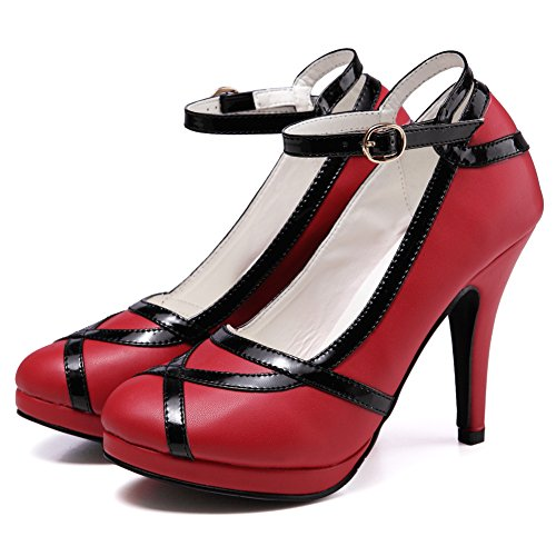 GetmorebeautyUpdate - Sandali con Zeppa donna Black and Red