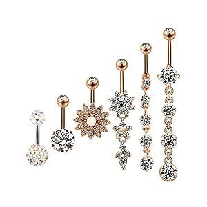 6 Stück 14g Edelstahl Bauchnabel Ringe Baumeln Bauchnabel Nabel Ringe für Damen, 6 Stile
